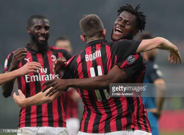 Frank Kessie of AC Milan celebrates his goal with his teammate Fabio Borini during the Serie A match between AC Milan and Empoli at Stadio Giuseppe...