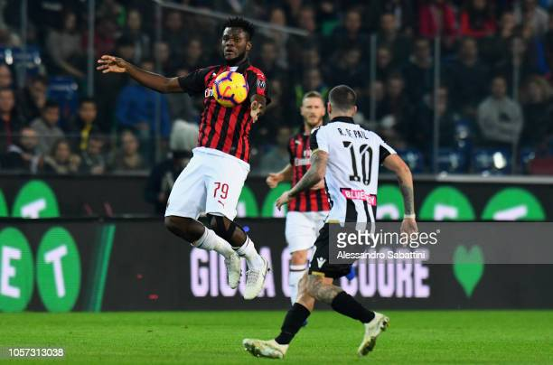 Frank Kessie of AC Milan controls the ball during the Serie A match between Udinese and AC Milan at Stadio Friuli on November 4 2018 in Udine Italy