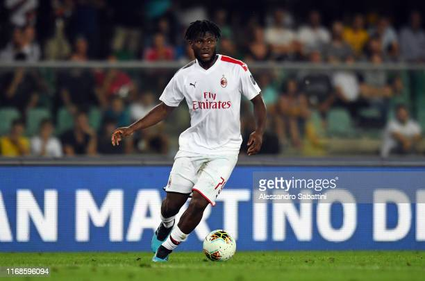 Frank Kessie of AC Milan in action during the Serie A match between Hellas Verona and AC Milan at Stadio Marcantonio Bentegodi on September 15 2019...
