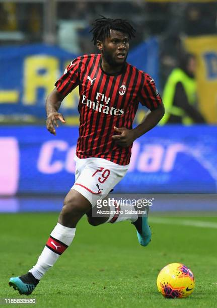 Frank Kessie of AC Milan in action during the Serie A match between Parma Calcio and AC Milan at Stadio Ennio Tardini on December 1 2019 in Parma...