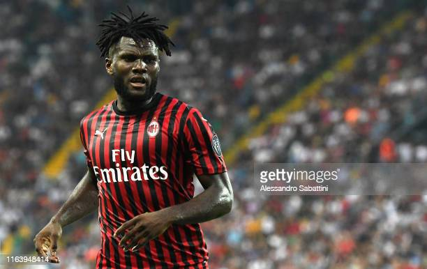 Frank Kessie of AC MIlan looks on during the Serie A match between Udinese Calcio and AC Milan at Stadio Friuli on August 25 2019 in Udine Italy