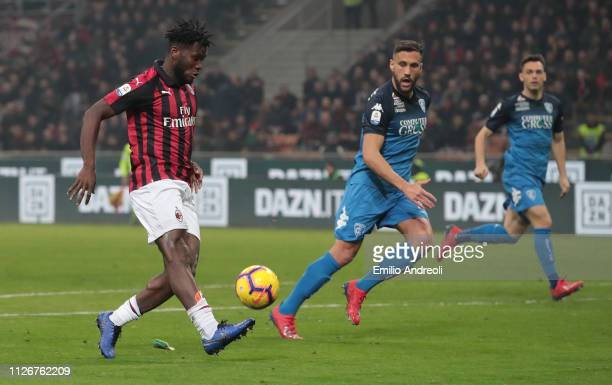 Frank Kessie of AC Milan scores his goal during the Serie A match between AC Milan and Empoli at Stadio Giuseppe Meazza on February 22 2019 in Milan...