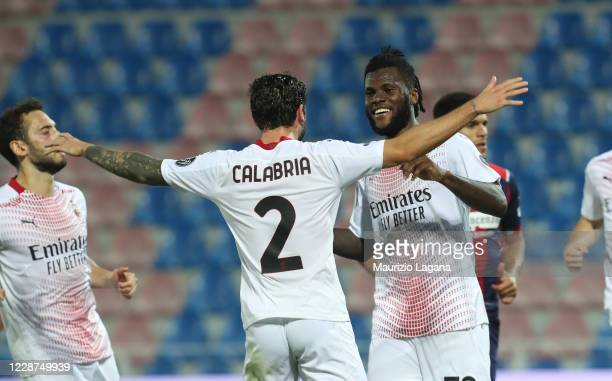 Frank Kessie of Milan celebrates his team's opening goal during the Serie A match between FC Crotone and AC Milan at Stadio Comunale Ezio Scida on...