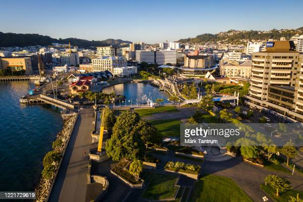 Frank Kits Park and Whairepo Lagoon on April 29 2020 in Wellington New Zealand New Zealand's lockdown measures were eased slightly as the country...