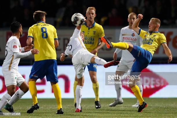 Frank Korpershoek of Telstar Andrejs Ciganiks of SC Cambuur during the Dutch Keuken Kampioen Divisie match between SC Cambuur v Telstar at the...