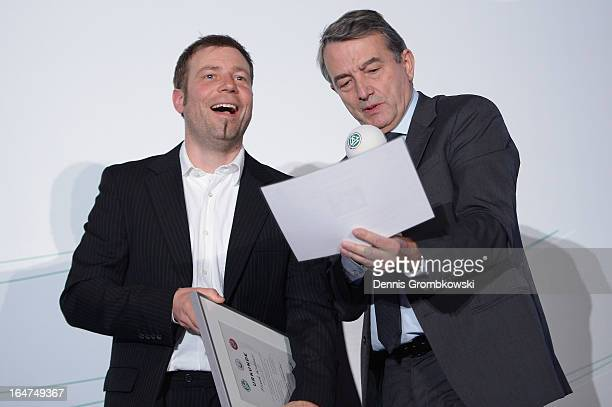 Frank Kramer is honoured during the Coaching and Technichal Development Course Awarding Ceremony on March 27 2013 in Bonn Germany