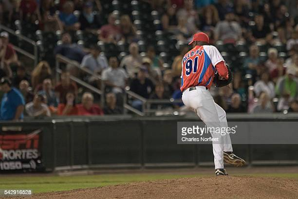 Frank L. Medina of the Cuban National Team delivers a pitch against the Rockland Boulders at Palisades Credit Union Park on June 24, 2016 in Pomona,...