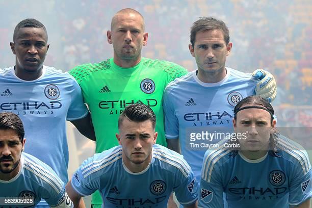 Frank Lampard, #8 of New York City FC with team mates Jefferson Mena, Josh Saunders, David Villa, Jack Harrison and Thomas McNamara during a team...