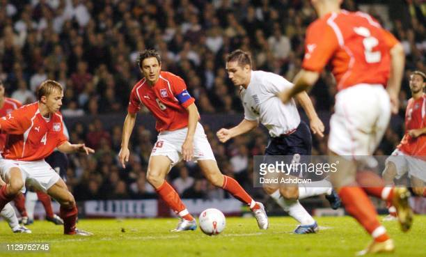 Frank Lampard about to score England v Poland FIFA World Cup Europe group 6 qualifier at Old Trafford 12th October 2005.