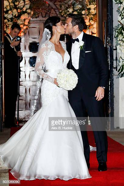 Frank Lampard and Christine Bleakley kiss on the steps of the St Paul's Church after their wedding on December 20 2015 in London England