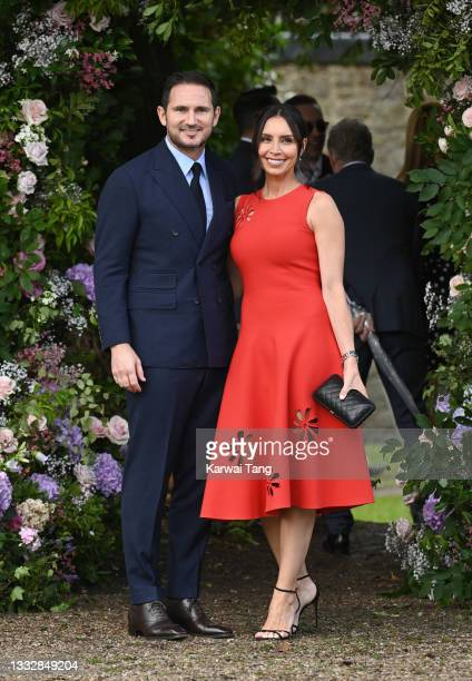 Frank Lampard and Christine Lampard seen arriving at the wedding of Ant McPartlin and Anne-Marie Corbett at St Michael's Church in Heckfield on...