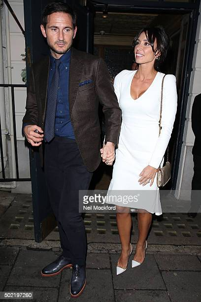 Frank Lampard and Christine Lampard seen leaving a restaurant a day after their wedding on December 21 2015 in London England