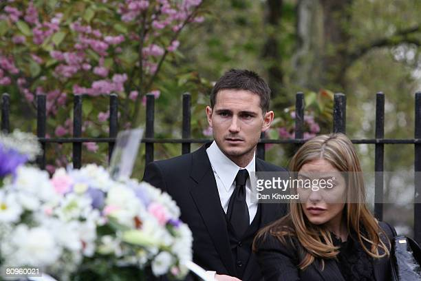Frank Lampard and fiancee Elen Rives attend the funeral of Frank's mother Pat at St Margaret's church in Barking on May 2 2008 in London England