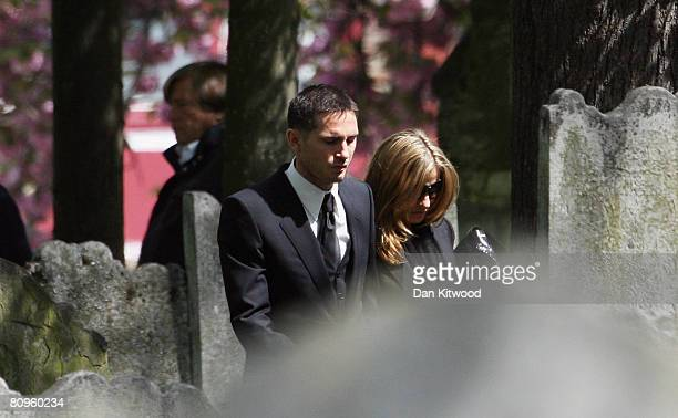Frank Lampard and fiancee Elen Rives attend the funeral of his mother Pat at St Margaret's church in Barking on May 2 2008 in London England
