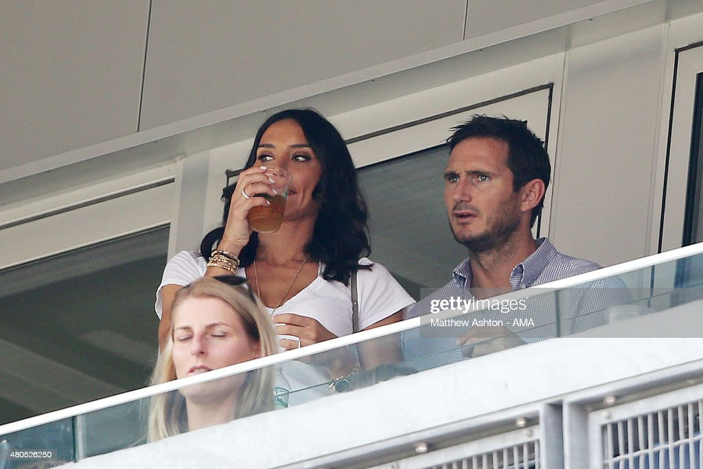 Frank Lampard (R) and his girlfriend Christine Bleakley (C) watch the MLS match between Toronto FC and New York City at Yankee Stadium on July 12, 2015 in New York City.