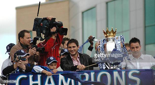 Frank Lampard and John Terry Chelsea players parade Barclays Premiership Trophy