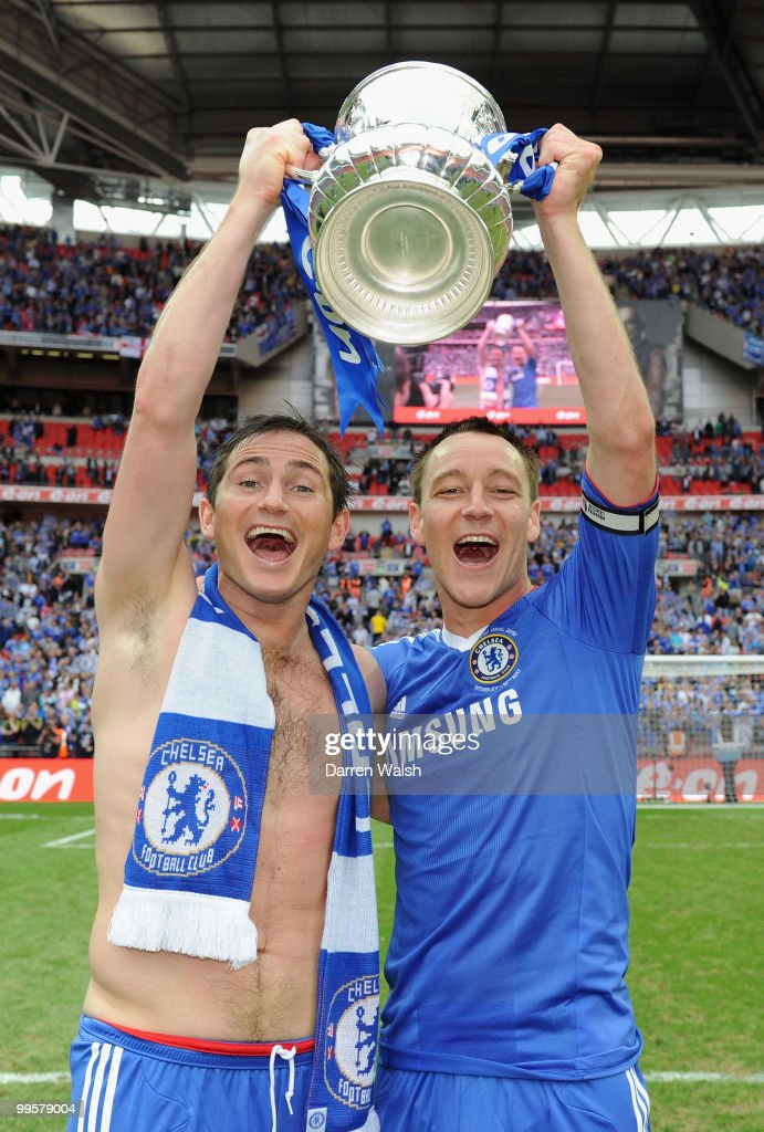 Frank Lampard (R) and John Terry of Chelsea celebrate after winning the FA Cup sponsored by E.ON Final match between Chelsea and Portsmouth at Wembley Stadium on May 15, 2010 in London, England.