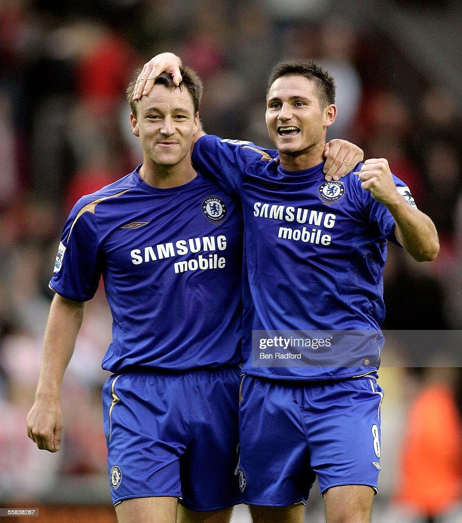 Frank Lampard and John Terry of Chelsea celebrate the victory after the Barclays Premiership match between Liverpool and Chelsea at Anfield on October 2, 2005 in Liverpool, England.