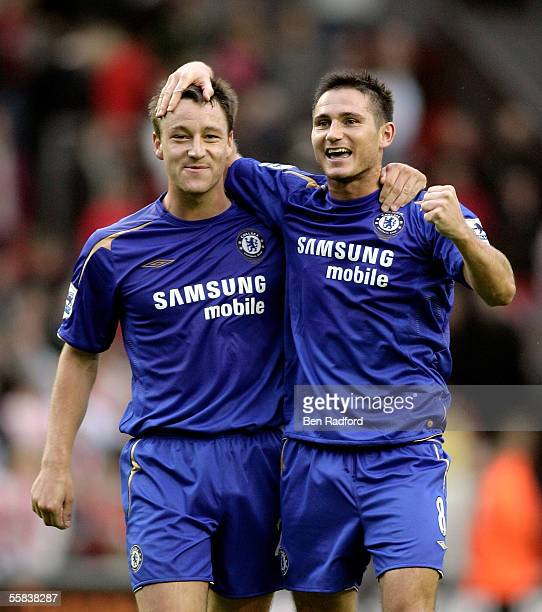 Frank Lampard and John Terry of Chelsea celebrate the victory after the Barclays Premiership match between Liverpool and Chelsea at Anfield on...