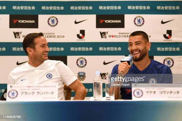 Frank Lampard and Mateo Kovacic of Chelsea during a press conference at Yokohama Royal Park Hotel on July 16 2019 in Yokohama Japan
