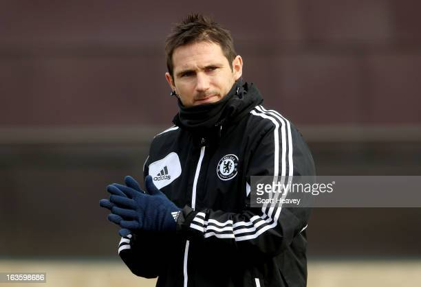 Frank Lampard arrives for a Chelsea training session ahead of their UEFA Europa League match with FC Steaua Bucuresti on March 13 2013 in Cobham...