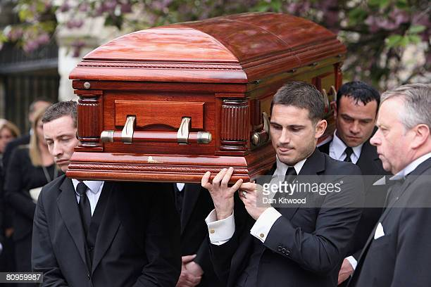 Frank Lampard carries his mother's coffin at St Margaret's church in Barking on May 2 2008 in London England