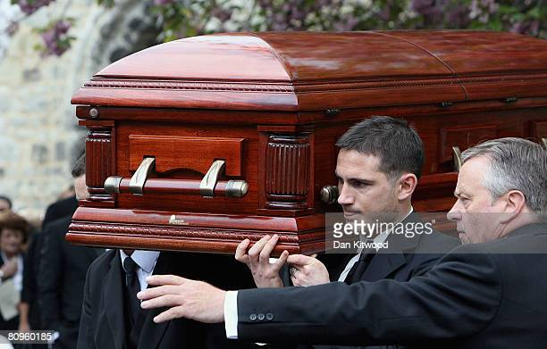 Frank Lampard carries the coffin out of the church at the funeral of his mother Pat at St Margaret's church in Barking on May 2 2008 in London England