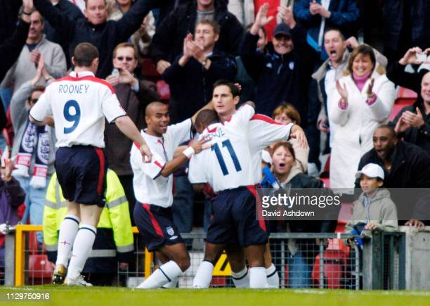 Frank Lampard celebrates after scoring during England v Wales at Old Trafford FIFA World Cup Europe qualifier 9th October 2004
