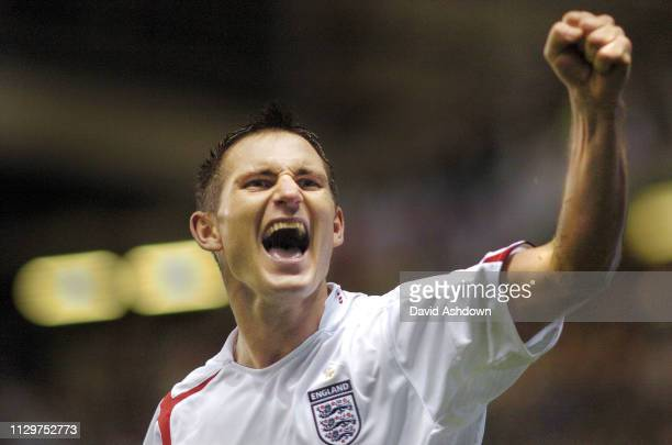 Frank Lampard celebrates after scoring the 2nd goal England v Poland FIFA World Cup Europe group 6 qualifier at Old Trafford 12th October 2005