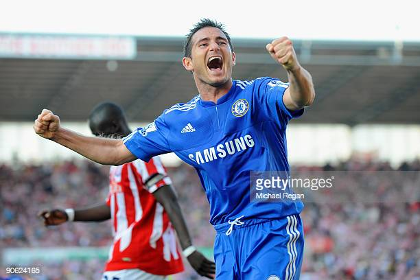 Frank Lampard celebrates after team mate Florent Malouda of Chelsea scored the winning goal during the Barclays Premier League match between Stoke...