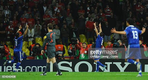Frank Lampard celebrating his goal while pointing to the skies in memory of his mother during the UEFA Champions League Final between Chelsea and...