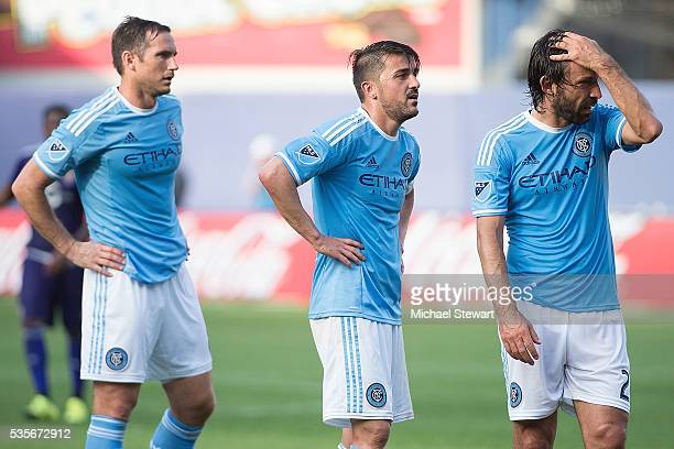 Frank Lampard David Villa and Andrea Pirlo of New York City FC during the match at Yankee Stadium on May 29 2016 in New York City New York City FC...