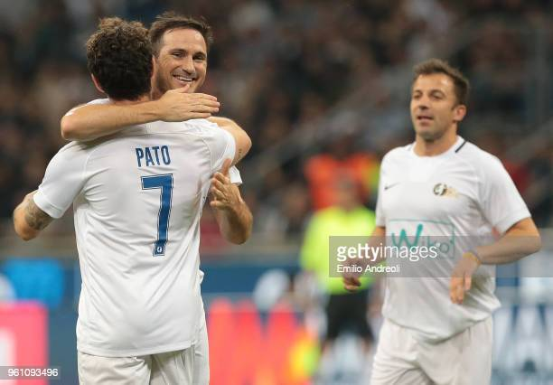 Frank Lampard embraces Alexandre Pato during Andrea Pirlo Farewell Match at Stadio Giuseppe Meazza on May 21 2018 in Milan Italy