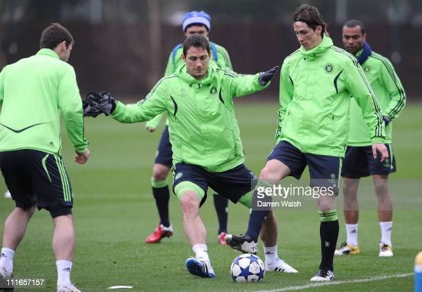 Frank Lampard, Fernando Torres of Chelsea during a training session ahead of their UEFA Champions League Quarter-final first leg match against...