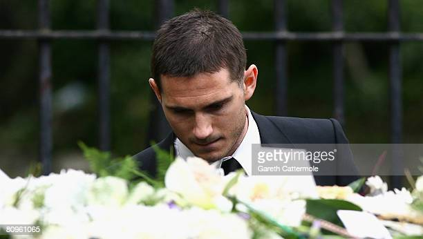 Frank Lampard leaves the funeral of his mother Pat at St Margarets Church on May 2 2008 in Barking England