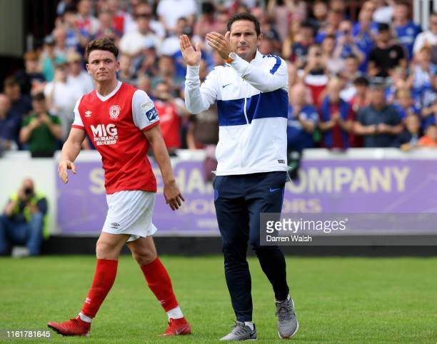 Frank Lampard manager of Chelsea acknowledges the fans after the PreSeason Friendly match between St Patrick's Athletic FC and Chelsea FC at Richmond...