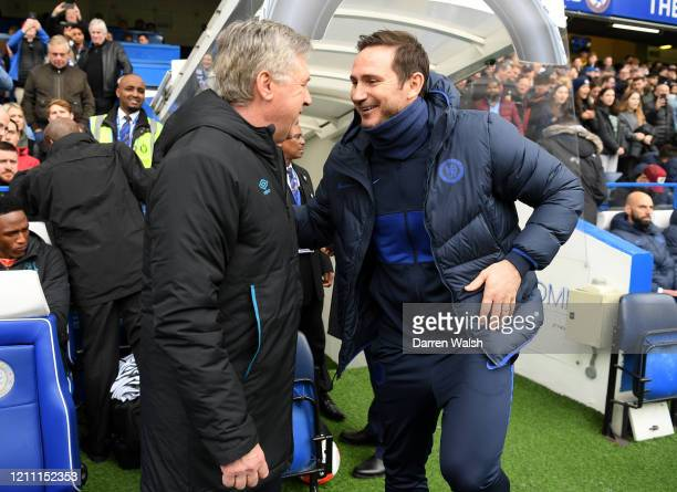 Frank Lampard Manager of Chelsea and Carlo Ancelotti Manager of Everton embrace each other prior to the Premier League match between Chelsea FC and...