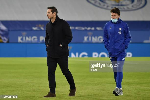 Frank Lampard, Manager of Chelsea and Chris Jones, Assistant Manager of Chelsea looks on prior to the Premier League match between Leicester City and...