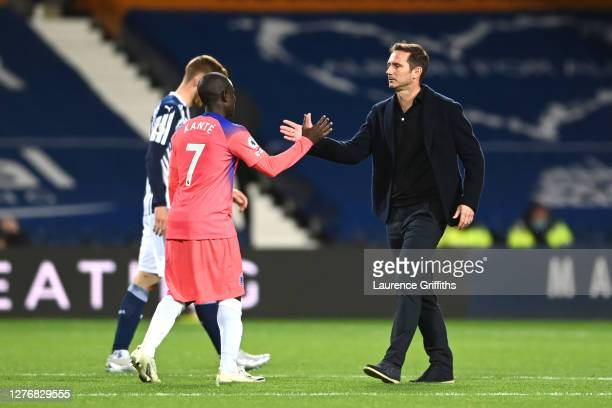 Frank Lampard Manager of Chelsea and Ngolo Kante of Chelsea interact following their draw in the Premier League match between West Bromwich Albion...