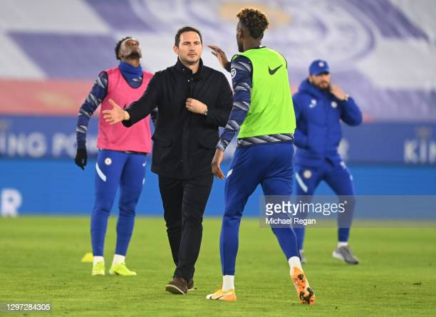 Frank Lampard, Manager of Chelsea and Tammy Abraham of Chelsea interact prior to the Premier League match between Leicester City and Chelsea at The...