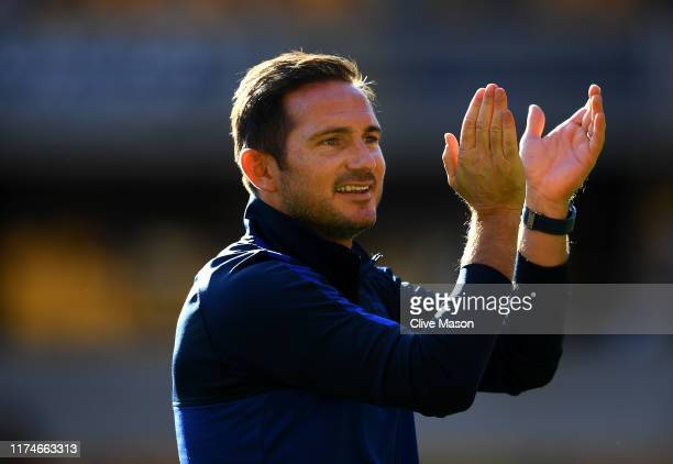 Frank Lampard Manager of Chelsea applauds fans following his sides victory in the Premier League match between Wolverhampton Wanderers and Chelsea FC...