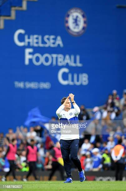Frank Lampard Manager of Chelsea applauds fans following the Premier League match between Chelsea FC and Leicester City at Stamford Bridge on August...
