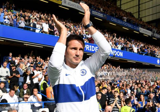 Frank Lampard Manager of Chelsea applauds fans prior to the Premier League match between Chelsea FC and Leicester City at Stamford Bridge on August...