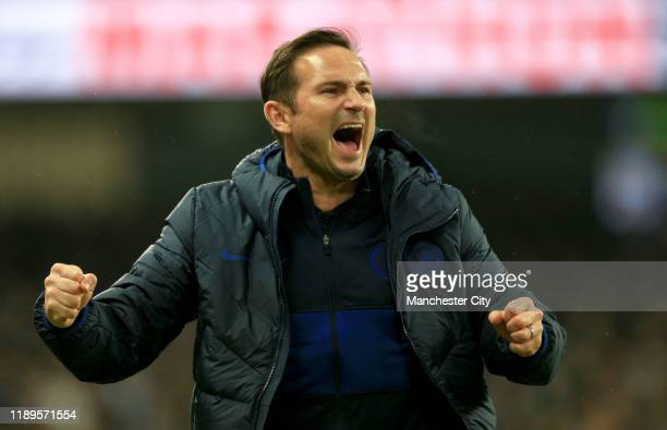 Frank Lampard Manager of Chelsea celebrates after his team score their first goal during the Premier League match between Manchester City and Chelsea...