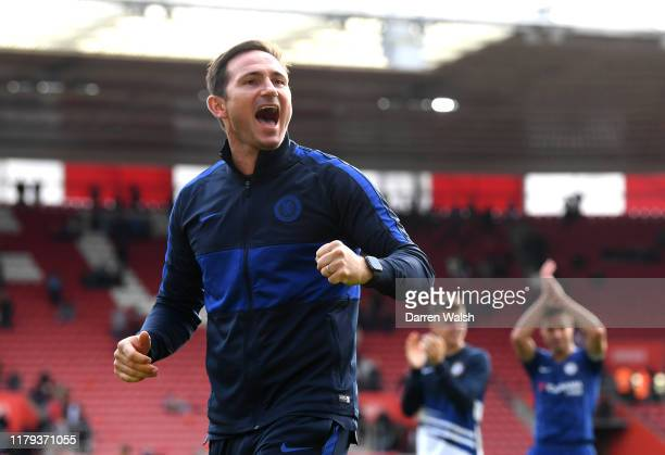 Frank Lampard Manager of Chelsea celebrates during the Premier League match between Southampton FC and Chelsea FC at St Mary's Stadium on October 06...