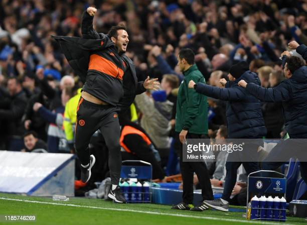 Frank Lampard Manager of Chelsea celebrates during the UEFA Champions League group H match between Chelsea FC and AFC Ajax at Stamford Bridge on...