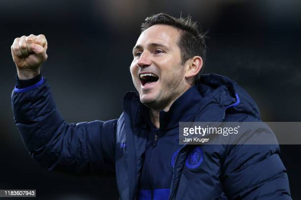 Frank Lampard Manager of Chelsea celebrates following his sides victory in the Premier League match between Burnley FC and Chelsea FC at Turf Moor on...