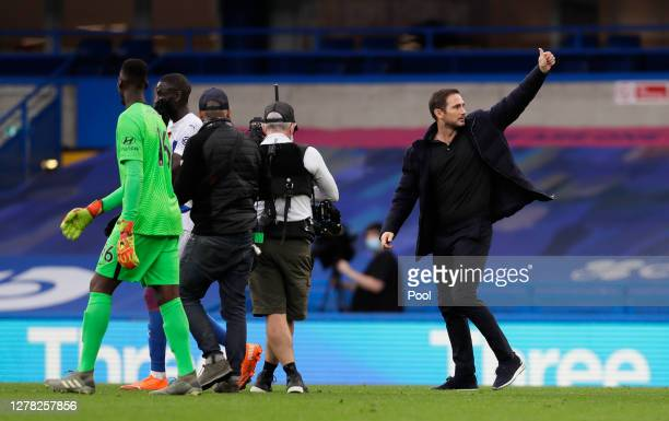 Frank Lampard Manager of Chelsea celebrates following his team's victory in the Premier League match between Chelsea and Crystal Palace at Stamford...