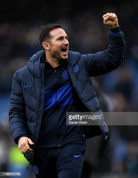 Frank Lampard Manager of Chelsea celebrates following the Premier League match between Chelsea FC and Crystal Palace at Stamford Bridge on November...