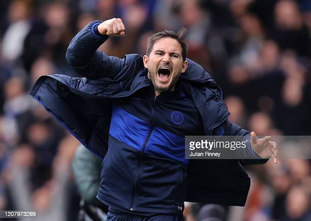 Frank Lampard manager of Chelsea celebrates his teams victory over Spurs during the Premier League match between Chelsea FC and Tottenham Hotspur at...